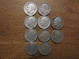 Lot of 10 Silver Dimes, 1951 and 1952