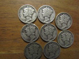 Lot of 8 Silver Dimes, 1939