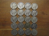 Lot of 20 Silver Dimes 1942