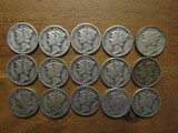Lot of 15 Silver Dimes, 1943