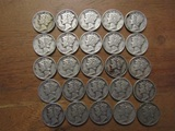 Lot of 25 Silver Dimes, 1944