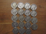 Lot of 19 Silver Dimes, 1943