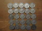 Lot of 25 Silver Dimes 1944