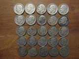Lot of 25 Silver Dimes, 1947