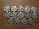 Lot of 14 Silver Dimes, 1947