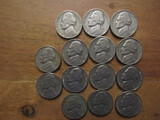 Lot of 14 Silver Nickels, 1940 - 1960