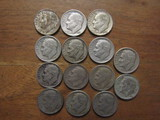 Lot of 14 Silver Dimes, 1953