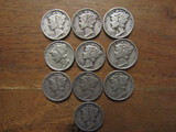 Lot of 10 Silver Dimes, 1941 and 1945