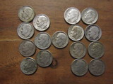 Lot of 16 Silver Dimes, 1954 - 1956
