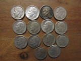 Lot of 14 Silver Dimes, 1957-1958