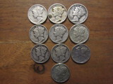 Lot of 10 Silver Dimes, 1940