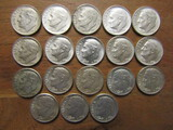 Lot of 18 Silver Dimes, 1964