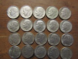 Lot of 20 Silver Dimes, 1964