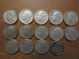 Lot of 14 Silver Dimes, 1959