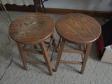 Lot of 2 Wooden Stools