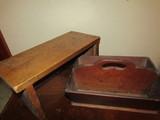 Vintage Wood Stool and Letter Holder
