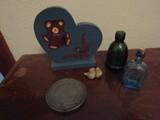Mixed Lot, Vintage Bottles, Metal Coaster, Bear, Doves Décor