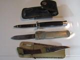 Lot of 3 Knives 2 switchblades, 1 folding Knife