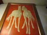 White Horses Painting, unsigned Framed 33