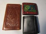 Lot of 3 Vintage Leather Wallets