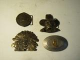 Lot of 4 Vintage Belt Buckles, 1 stamped Nickel Silver