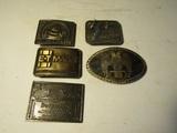 Lot of 5 Vintage Belt Buckles, Bud, SR71, Michelin