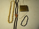Lot of 4 Jewelry, Carved and Sterling Silver Necklaces, Boa Tie