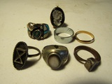 Lot of 7 Jewelry, Rings with Opening Cameo Ring