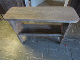 Ant/Vintage Wood Bench with Shoe Shelf