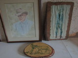 Lot of 3 Pictures, L. Sherrod 89, Branding Time, Cowboy