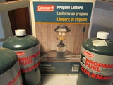 Lot of 4 New Coleman Lantern and 3 propane Fuel Cans