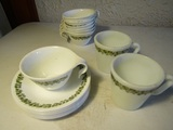 Lot of Corelle Saucers and Cups and Pyrex Mugs