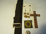 Collectibles Lot, Cloth Belt, Patch, Buttons, Cross, W.J. Bryan