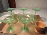 Lot of 6 Green Stem Glasses, Wood Cup/Dish
