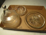 Lot of 3 Glass Bowl, Candie Jar, Condiment Plate