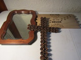 Lot of 3 Wall Décor, Mirror, Dog Sign, Cross made with Pine Cones