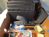 Lot of Office Supplies, File Holders, 3 Hole Punch, Markers