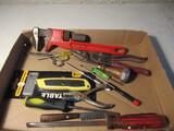 Lot of Tools, Ridgid Spud Wrench, Tin Snips