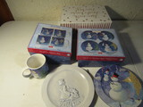 Lot of Christmas Items, Plates, Mugs, Cards, Snowpals