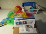 Lot of Household, Sock Slider, Dusters, Containers