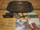 Lot with Serving Tray, Book, CD's, Handcuffs with Keys