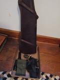 Vintage Leather Rifle Case, Holister, Ammo Case, Flashlights