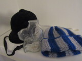 Lot of 3 Vintage Snoopy Glass Bank, Hat, Riding Helmet