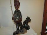 Lot of 2 Xonex Old Puffer Bank, Folk Art Wood Fisherman