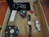 Pearl Necklace, Asian Design Pen in Box, Trinket Boxes, Timex