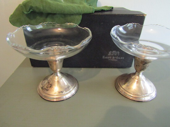 Hardy & Hayes Sterling Weighted Candle Sticks/Bowls, Original Box