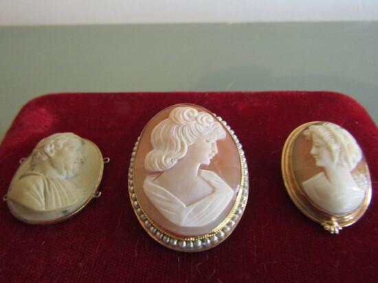 Lot of 2 Gold Tone Shell Cameo and Antique Lava?, Borraccio