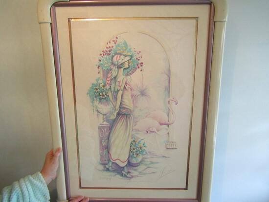 Mary Vickers Signed Mix Media Jewel Litho Framed Art