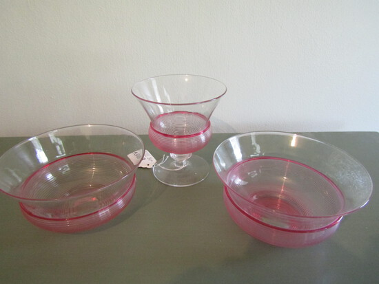 Lot of Steuben Cranberry Thread Glass