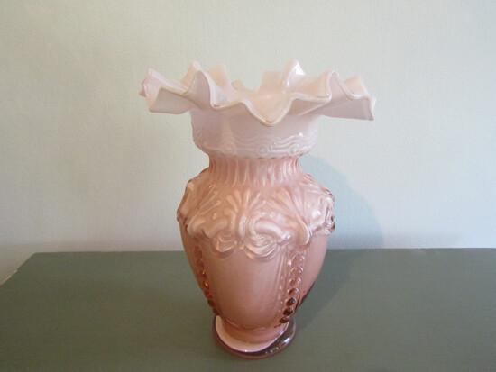 Encased Pink Victorian Design Vase, Fenton?